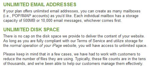 ipage unlimited storage email